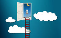 Ladder into the doorway of startup concept