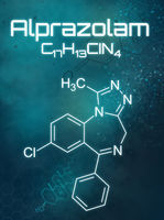 Chemical formula of Alprazolam on a futuristic background
