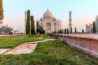 Taj Mahal view from the pool, India, Agra
