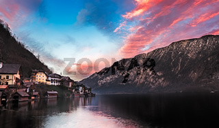 Lake Hallstatt at sunset, Salzkammergut, Austrian Alp