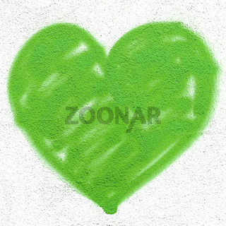 Green heart on wall
