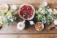 Appetizing breakfast on table on terrace