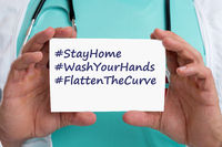 Stay home hashtag stayhome flatten the curve coronavirus corona virus 2019-nCoV disease doctor ill illness