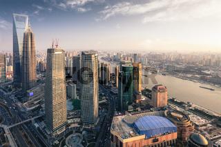 modern metropolis of shanghai at dusk