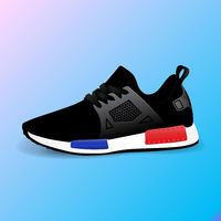Realistic sport running shoe for training and fitness