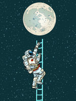 Astronaut climbs the stairs to the moon