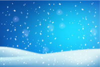 Winter christmas white blue Snowdrifts blurred background with shiny snow and blizzard.