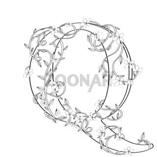 Letter Q floral sketch