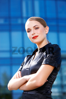 Confident Office Girl in Black Looking at Camera