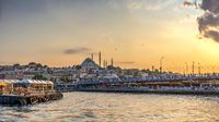 Eminonu square and Galata bridge in Istanbul, Turkey