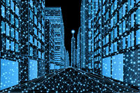 Street of a modern metropolis with high-rise buildings in a low poly style