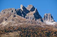Autumn Dolomites rocky mountain scene, Moena, Italy