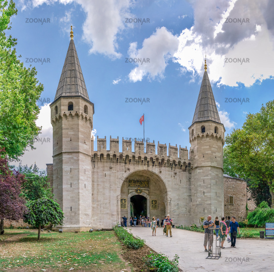 Entrance gate to the Topkapi Palace in Istanbul, Turkey