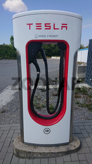 BAD RAPPENAU, GERMANY- JULY 21, 2020: Close up of of Tesla Superchargerer.