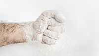 male fist covered in flour
