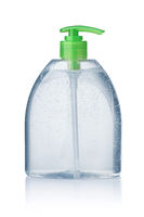 Plastic bottle of hand sanitizer gel