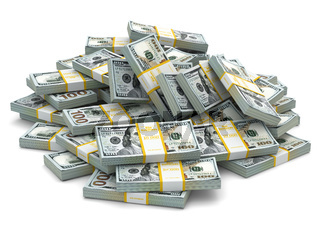 Heap of packs of dollars. Lots of cash money.