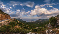 Budva riviera coastline. Montenegro. View from mountain pass top.