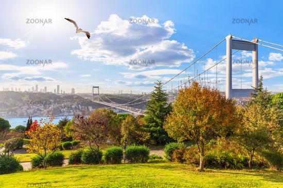 Sunny day in Otagtepe park, view on the Second Bosphorus Bridge, Istanbul, Turkey