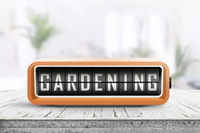 Gardening alarm message in a bright room in the spring