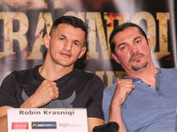 SES Boxing Profi-Boxer im Halbschwergewicht Robin Krasniqi mit Box-Trainer Magomed Schaburow bei der PK zur SES-Boxing-Gala am 22.09.2020 in Magdeburg