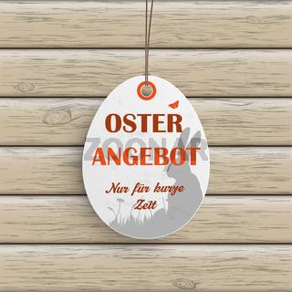 Osterangebot Egg Price Sticker Wood