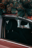 Car with christmas tree on roof