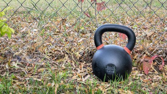 kettlebell outdoors - backyard fitness