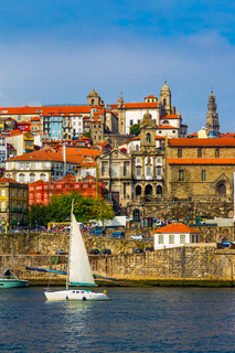 Porto, Portugal Riberia district with historical buildings seen from Douro River