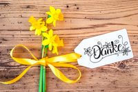 Yellow Narcissus Flower, Label, Calligraphy Danke Means Thank You
