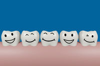 Teeth with smiley face, 3D illustration