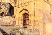 Amber Fort, old entrance in the wall, Jaipur, Rajasthan, India