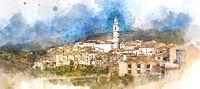 Digital watercolor of Bocairent village. Spain