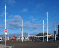 Traffic near the historic Gynn pub and Dickson road area in Blackpool Lancashire