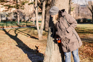Woman and her little dog playing hide and seek in a park. Pet and outdoor activity concept.