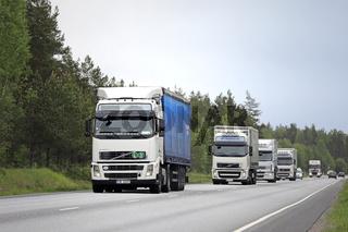 Fleet of White Freight Trucks on Road