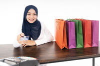 Muslim girl shopping