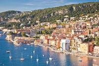 French riviera. Villefranche sur Mer architecture and coastline view