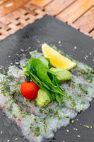 Sea bass sashimi