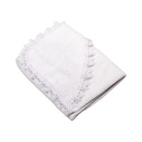 Folded white cloth with lace isolated on white