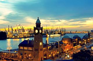 Hamburg Landungsbruecken sunset