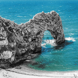 Durdle Door rock arch. Lulworth on the Dorset Coast Southern England.