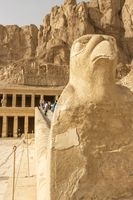 Sculpture of ancient Egyptian God Horus at the Temple of Hatshepsut