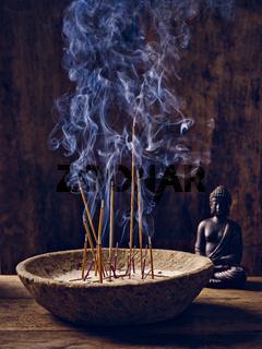 Schale Räucherstäbchen Buddha Holz