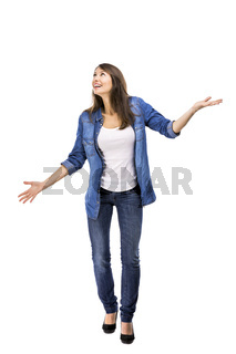Woman catching something