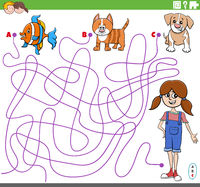 educational maze game with cartoon girl and pets