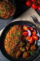 Buckwheat groats baked in the oven with beef goulash