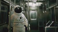 8K Astronaut Inside of the old non-modernized subway car in USA