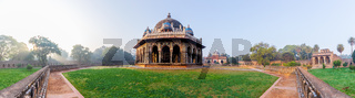 Panorama of Isa Khan's Tomb near the Humayun's Tomb in New Delhi, India