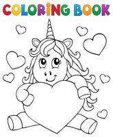 Coloring book Valentine unicorn theme 1